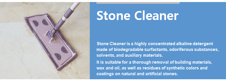 Stone Cleaner is a highly concentrated alkaline detergent made of biodegradable surfactants, odoriferous substances, solvents, and auxiliary materials. It is suitable for a thorough removal of building materials, wax and oil, as well as residues of synthetic colors and coatings on natural and artificial stones