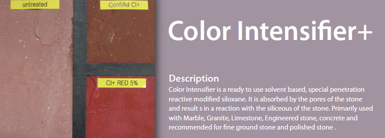 Color Intensifier is a ready to use solvent based, special penetration reactive modified siloxane. It is absorbed by the pores of the stone and result s in a reaction with the siliceous of the stone. Primarily used with Marble, Granite, Limestone, Engineered stone, concrete and recommended for fine ground stone and polished stone.